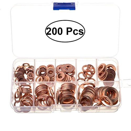 UKCOCO 200pcs Kupferscheibe Dichtung Sortiment flache metrische Dichtscheiben