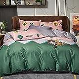 Bedding-LZ Juegos de sábanas de 80-,Agua de Primavera y Verano Lavada Desnuda, durmientes, Cuatro Sets.-QQ_Cama de 150 cm