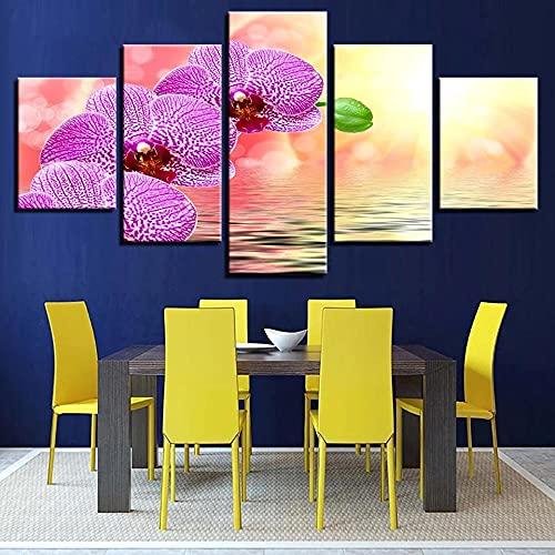 GHYTR 5 Piezas Cuadro sobre Lienzo De Fotos Agua Y Flor Morada Lienzo Impresión Cuadros Decoracion Salon Grandes Cuadros para Dormitorios Modernos Mural Pared 5 Partes Carteles Regalo