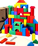 Jaques of London Wooden Building Blocks for Kids Building Blocks – Great multi coloured Building bricks....