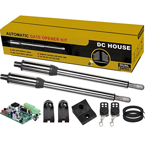 DC HOUSE Heavy Duty Automatic Gate Opener Kit Dual Swing Gate Openers for Home Security/Farm/Garage/Business,Up to 16.4 Feet or 850 Pounds