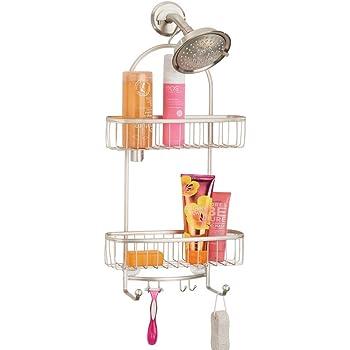 Cesta de ducha sin taladro con ventosas cuchillas Estante para ducha de metal para champ/ú mDesign Organizador de ducha para colgar sobre el cabezal plateado mate etc extragrande
