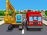 Gelb Bagger und Rot Feuerwehrauto