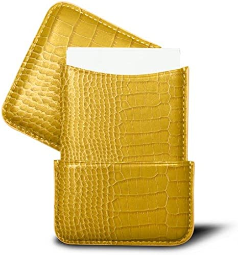 Lucrin Orange Slot-in Business Cards Holder Crocodile Style Calfskin
