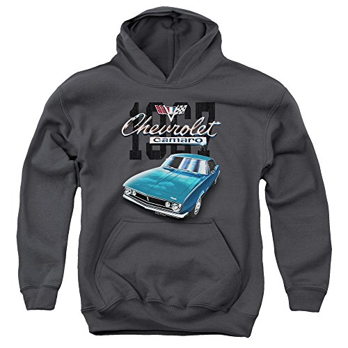 Chevrolet Classic Camaro Unisex Youth Pull-Over Hoodie for Boys and Girls, Medium Charcoal
