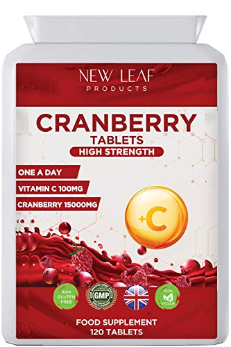 Cranberry Tablets 15,000mg Triple Strength High Absorbency with Added VIT C, One a Day Cranberry Supplement for Woman and Men Vegan, Non-GMO, Gluten-Free, GMP, Made in UK
