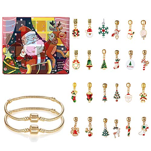 ColiCor Christmas Advent Calendar Gift Box DIY Pendants with 24 Small Accessories,Charm Bracelet with Clasp for Kids