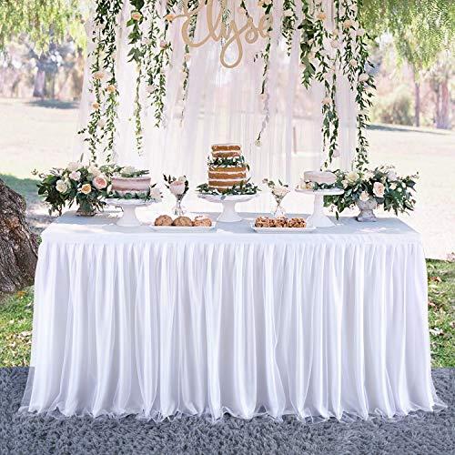 HBBMAGIC Falda de mesa de tul blanco Tütü Faldas de mesa Candy mantel 183 * 76CM para cumpleaños, niñas, niños, decoración, baby shower, fiesta de bebé, fiesta de dulces, boda, sin LED, Tul corto