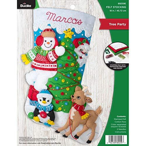 Bucilla Felt Applique Christmas Stocking Kit, Tree Party, 18'