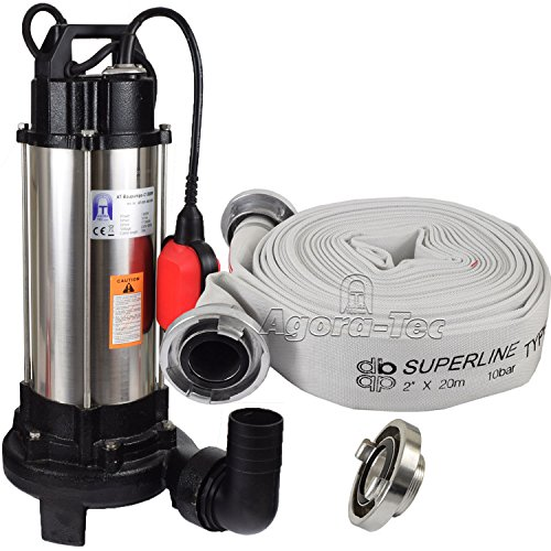 Agora-Tec® AT- Baupumpe-C 1300W (mit Schneidwerk) Tauchpumpe für Schmutzwasser, Fäkalien und organische Feststoffe mit Schwimmerschalter und max: 1,05 bar, max: 17500l/h inkl. C - STORZ Kupplung und (C-Schlauch: 20 Meter)