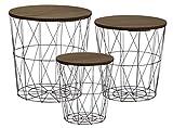 Metall Beistelltisch mit Stauraum schwarz - 3er Set/dunkle Tischplatten - Wohnzimmer...
