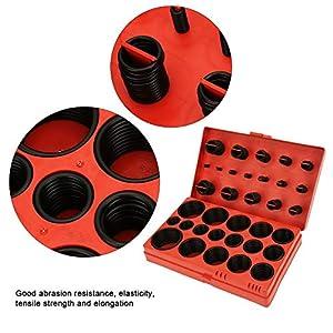 R-01 ~ R-30 Juego de juntas tóricas de goma, 419PCS Juego de surtido de juntas tóricas de 32 tamaños, Junta de sello de arandela de sellado Kit de junta tórica de goma universal con caja