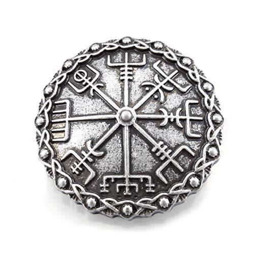 URBANTIMBER Brosche mit Vegvisir und keltischen Knoten - Silber