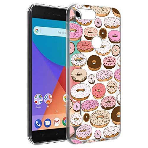 Eouine Xiaomi Mi A1 Hülle, Schutzhülle Silikon Transparent mit Muster Motiv Handyhülle [Ultra Dünn] Slim Stoßfest Weich TPU Bumper Hülle Backcover für Xiaomi Mi A1 5,5 Zoll Smartphone (Donuts)