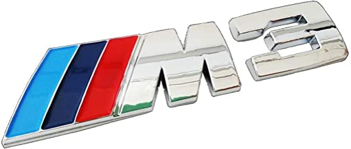 xybzzpltd M3 Silver Badge 3D Matted Metal Plating Sticker Chrome Emblem for BMW Available
