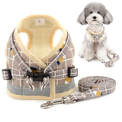 Zunea Hundegeschirr Kleine Hunde Welpen Verstellbar Reflektierend kein Ziehen Brustgeschirre mit leine für Chihuahua Puppia, Netz gepolstert ausbruchsicher Katzen Geschirr Gelb XS