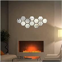 DIY 12Pcs 3D Hexagon Mirror Hexagon Vinyl Removable Acrylic Wall Sticker Decal Home Decor Modern Decoration (Silver)