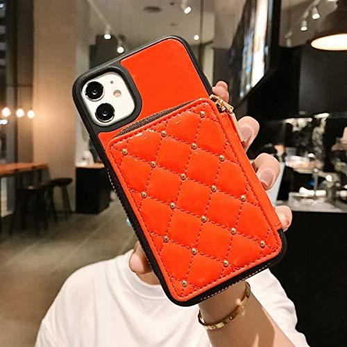 Fundas para iPhone 12 Mini 11 Pro X Xs Max XR 7 8 Plus Cuero cubierta trasera titular de la tarjeta TPU silicona suave parachoques bolsas protección caso Accesorios teléfono móvil (naranja)