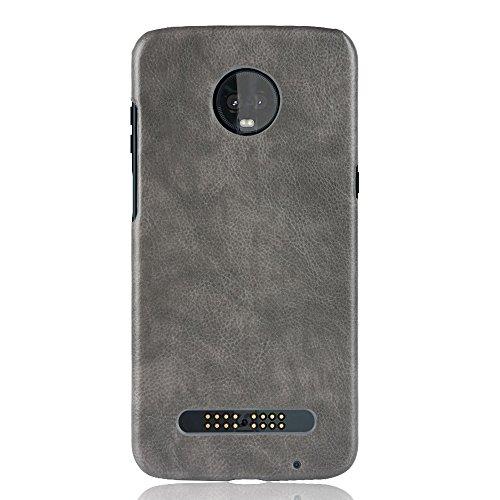 Zl one compatível com/substituição para Motorola Moto Z3 Play capa traseira de couro PU (cinza)
