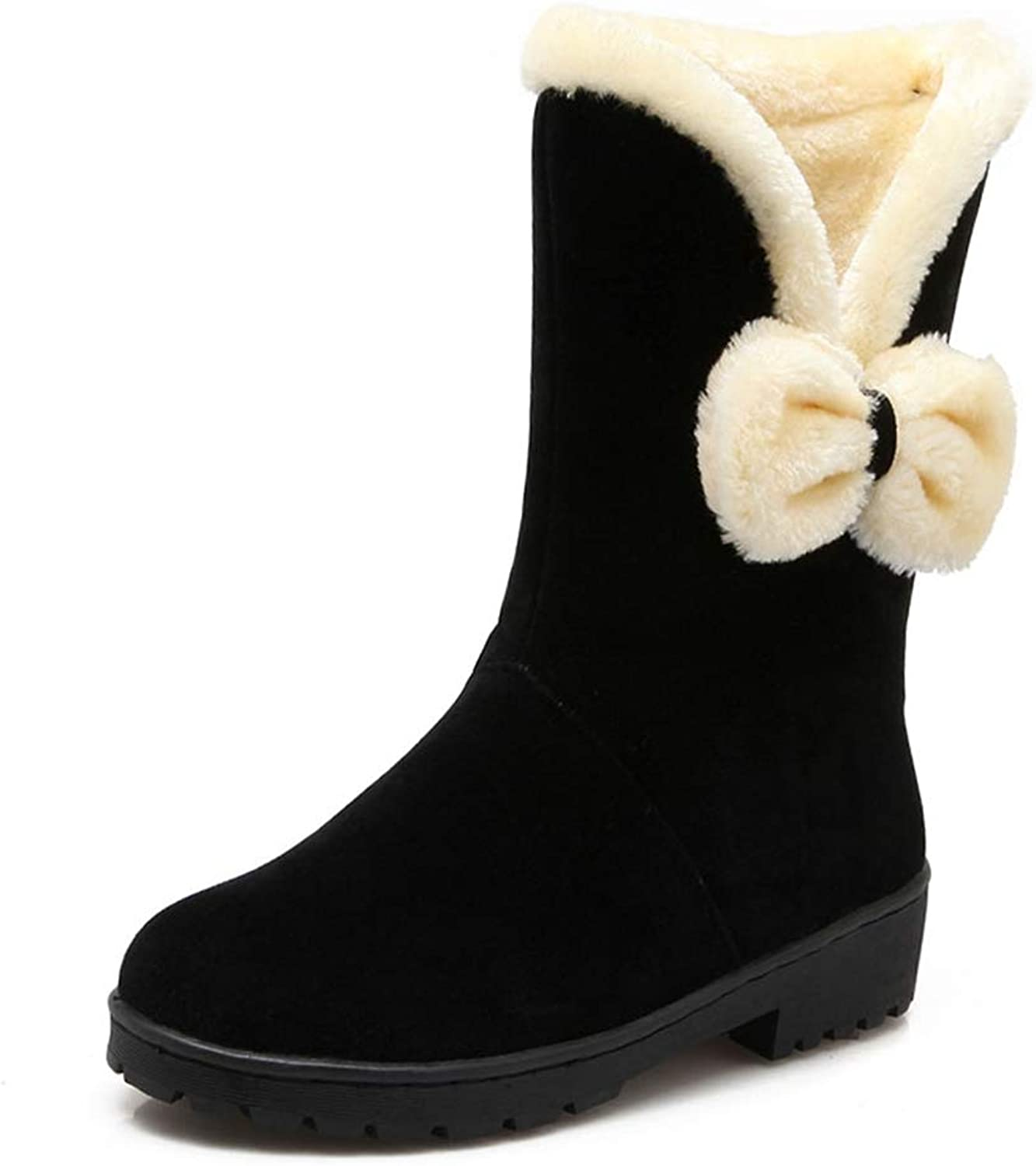T-JULY Winter Women Mid Calf Boots Flat Thicken Fur Warm Bowknot Footwear shoes