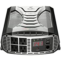 Cobra CPI2500W Portable Power Inverter 2500 Watt Car Charger with 4 Grounded AC Outlets / Remote Compatible and 2 Fast Charge USB Port