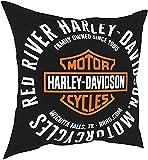 Funda de cojín de poliéster para Harley Davidson de 45 x 45 cm, cuadrada decorativa para sofá, 45 cm x 45 cm