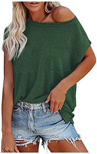 BATKKM One Shoulder Tops for Women Casual Loose Solid Color Chest Pocket Short Sleeve BlouseT product image