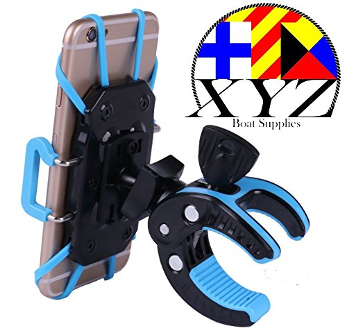 XYZ Boat Supplies Cell Phone Mount/Holder for Motorcycle/Bike Handlebars/Boat, iPhone, Samsung, Smart Phone, (Blue)