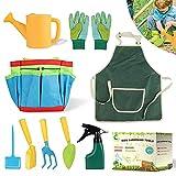 Daohexi Set di attrezzi da giardino per bambini, 9 pezzi, per bambini, per giardino, spiaggia, multifunzione, guanti, paletta, annaffiatoio, set di attrezzi da giardino