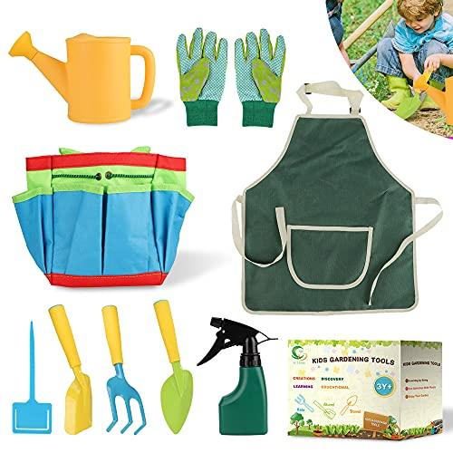 9 Stück Gartengeräte für Kinder, Gartenwerkzeug Kinder Metall, Spielwerkzeuge für den Garten / Strand, Multifunktions-Werkzeugtasche, Handschuhe, Schaufel, Rechen, Gießkanne, Gartenwerkzeug Set Klein