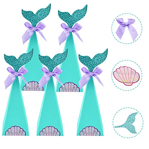 AFASOES 40 Pcs Caja de Dulces Niños Sirena Cajitas para Chuches Cajas para Dulces de Carton para Cumpleaños Cajitas de Golosinas Cajitas de Caramelos Cajitas de Papel para Infantiles Fiesta Cumpleaños