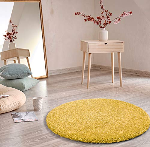 Universal Alfombra Redonda Aqua Liso R, 100% Polipropileno, Amarillo, 100 x 100 cm