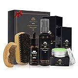 Kit de cuidado de barba para hombres, 5 piezas - Champú + Brocha para barba + Peine para barba + Aceite para barba + Bálsamo para bigote para el estilo, la moldura y el crecimiento