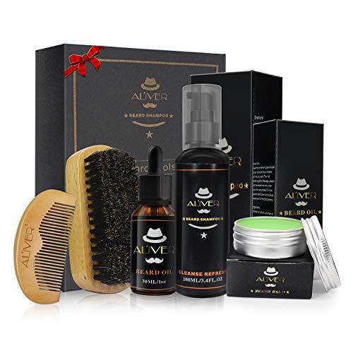 Men Beard Care Kit, 5 Pezzi Di Balsamo Per Capelli Con Baffi Set-shampoo Per Barba Olio Per Barba Bio Balsamo Per Baffi Spazzola Per Setole Di Cinghiale + Pettine Per Barba Di Legno Premium