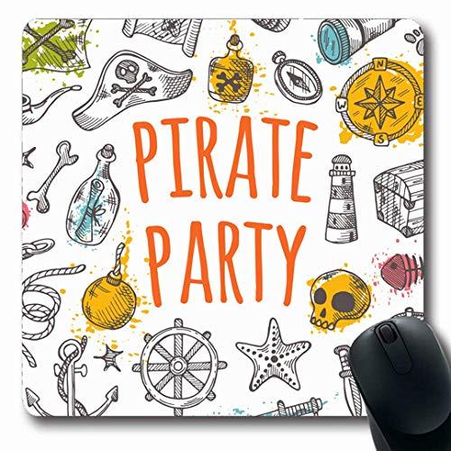 Luancrop Mousepads Schmuck AHOI Piraten-Party auf Aquarell spritzt Kanonenkugel-Hut-Schatz-Anker-Abzeichen-Bandana-Fass-rutschfeste Spiel-Mausunterlage Gummi-längliche Matte