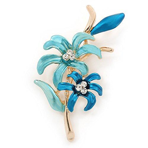 Avalaya Teal/Light Blue Enamel, Crystal Double Flower Brooch in Gold Plating - 62mm L
