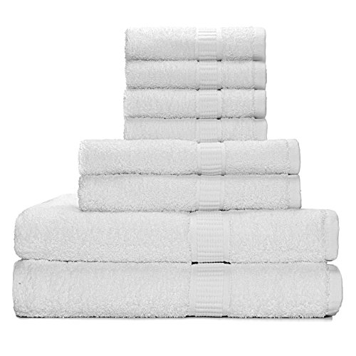 Alurri Luxury Bath Towels Gift Set Hotel/Spa Super Soft and Quick Absorbent Bathroom (White)