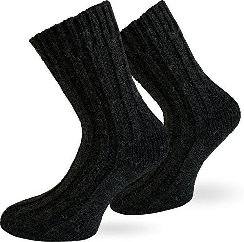 normani 2 Paar Sehr warme Alpaka Wollsocken für Damen und Herren/wie Handgestrickt ! waschmaschienenfest ! Anthrazit Größe 39-42