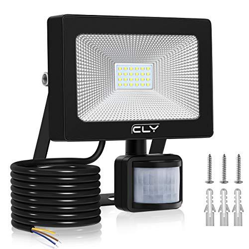 Projecteur LED Avec Détecteur de Mouvement 20W【Blanc Froid】, CLY Spot LED Extérieur Avec Détecteur, Eclairage Exterieur Avec Détecteur, 6500K 2000LM, IP66 Pour Jardin, Garage, Entrée