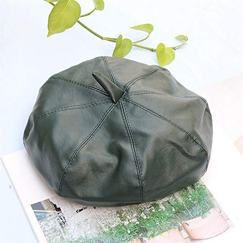 YUXINXIN Red Hat Network pu Pi Beilei vrouwelijke Koreaanse herfst en winter wilde Britse retro Japanse ster anijs bont hoed schilder hoed knop Adjustable Drank green