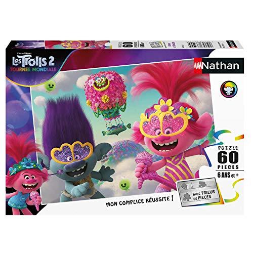 Nathan- Puzzle 60 pièces Poppy et Branche Trolls 2 Puzle Infantil, Color (Ravensburger 4005556865680)