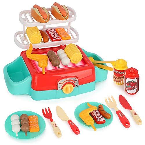 LBLA Barbecue BBQ Cooking Kitchen Toy with Light and Sounds,Interactive Grill Play Food Cooking Playset for Kids Kitchen Pretend Play