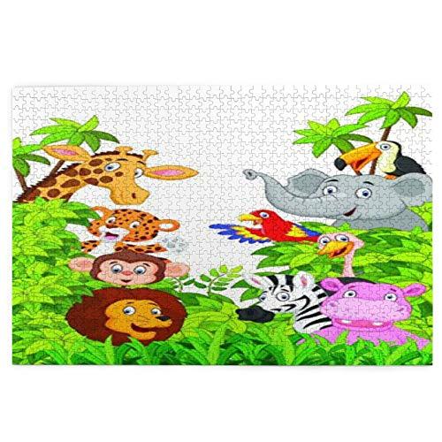 Rompecabezas de cuadros coloridos para familia de 1000 piezas de madera, colección de dibujos animados de animales felices en la selva, rompecabezas
