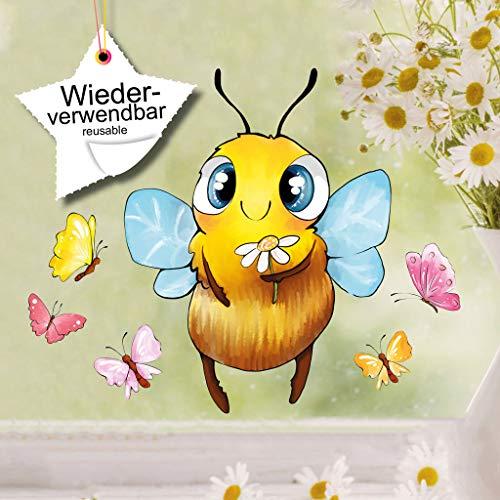 Wandtattoo Loft Fensterbild Frühling Biene Hummel Sumsi Fensteraufkleber Kinderzimmer wiederverwendbar mit Schmetterlingen DIN A4