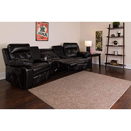 Flash Furniture Reel Comfort Series 3-Seat Reclining Black Leather Theater Seating Unit with Curved Cup Holders