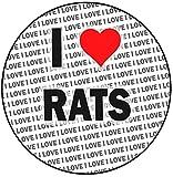 Decoración para tarta redonda con texto 'I Love Rats' (20 cm), diseño de texto 'I Love Rats'
