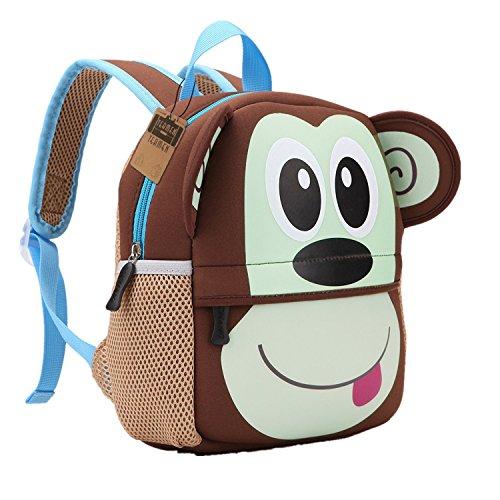 Mochila para niños, Animal Mochila Escolar TEAMEN® Toddler Kids Mochila Escolar para niños pequeños, Mochila para 2-5 años (Mono)