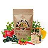14 Sweet & Hot Peppers Seeds Variety Pack 700 Seeds Non-GMO Peppers Seeds for Planting Outdoor & Indoor Home Gardening Anaheim Jalapeno Habanero Cayenne Serrano Poblano Cubanelle Pepperoncinis & More