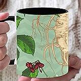 Taza de café de 11 oz para mujer Moda Ginseng natural Hierbas medicinales Tazas de café Tazas de café personalizadas para adultos utilizadas para café Té caliente Beber Interior negro con asa