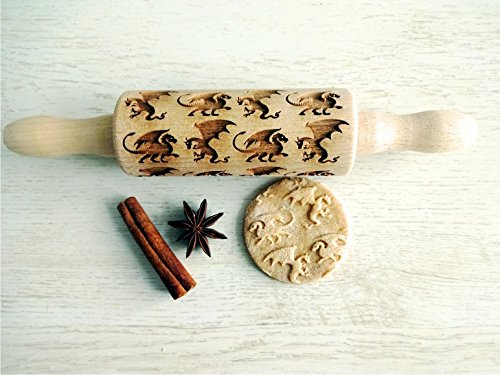 DRAGONS KID SIZE ROLLING PIN for EMBOSSED COOKIES GIFT for KID